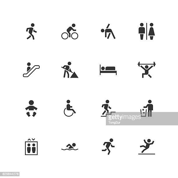 people icons - unique - pedestrian stock illustrations, clip art, cartoons, & icons