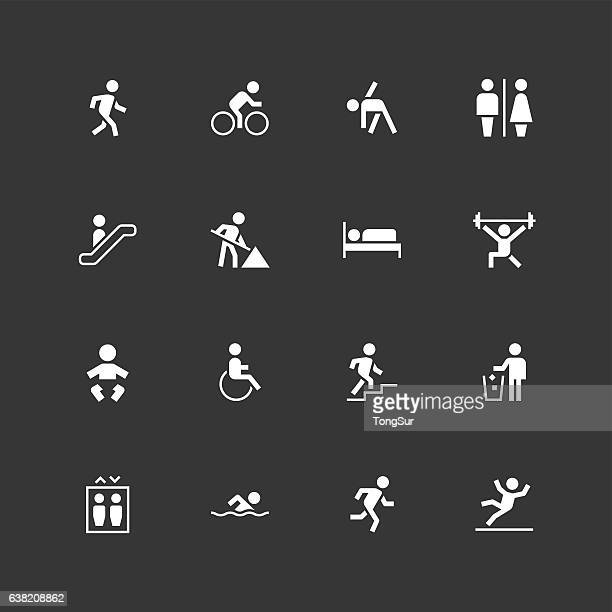 people icons - unique - white - pedestrian stock illustrations, clip art, cartoons, & icons