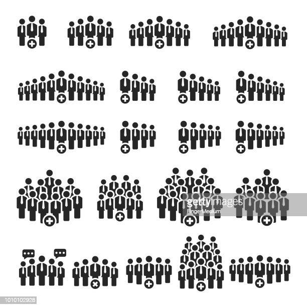 people icons - population explosion stock illustrations