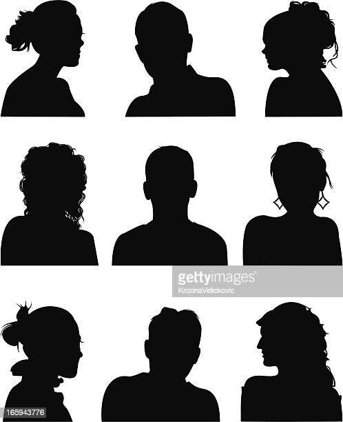 人物の肖像 - ショートヘア点のイラスト素材/クリップアート素材/マンガ素材/アイコン素材