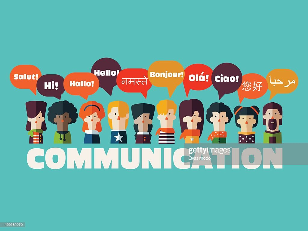 People icons with speech bubbles in different languages. Communication concept