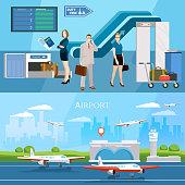 People in airport banner runway international airlines