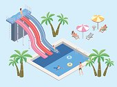 People in aqua park, relax at the pool. Swimming pool and water slides. Vector isometric illustration.
