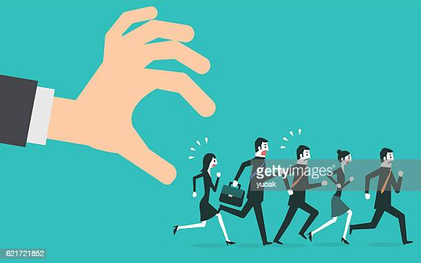 illustrations, cliparts, dessins animés et icônes de people in casual running away from big hand. - femme grosse