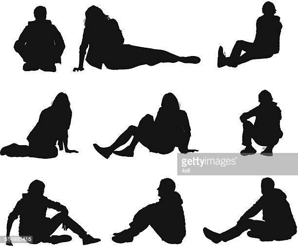 people in casual wear sitting on floor - sitting on ground stock illustrations