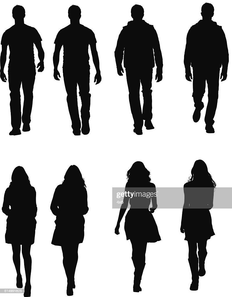 People in casual wear walking : stock illustration