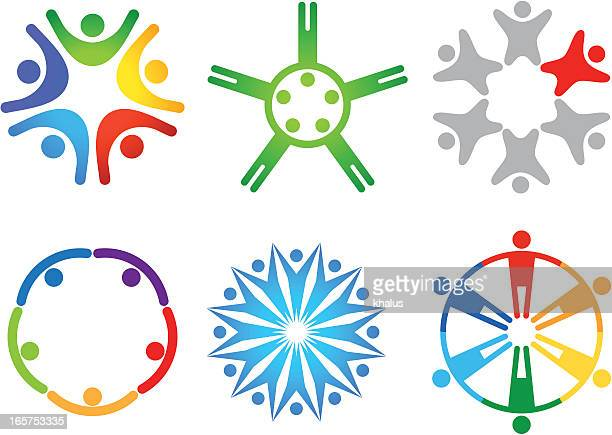people in circle (icon set) - brigade stock illustrations