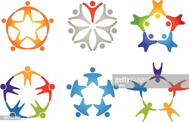 people in circle (icon set 2) - hands circle stock illustrations