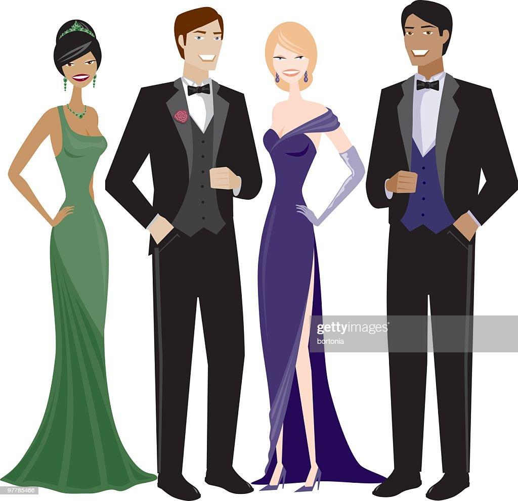 People in Evening Wear : stock illustration