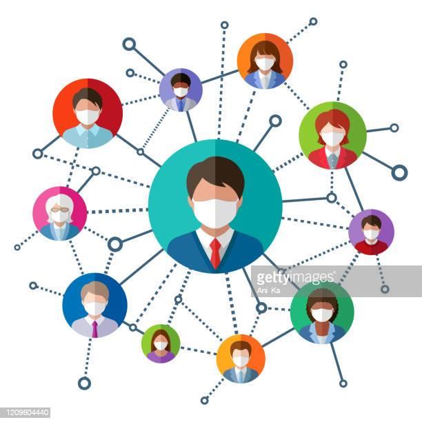 ilustraciones, imágenes clip art, dibujos animados e iconos de stock de personas con máscaras faciales médicas - cuarentena
