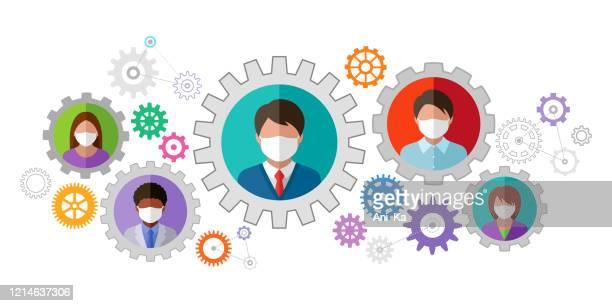 illustrations, cliparts, dessins animés et icônes de personnes dans des masques médicaux de visage - activité