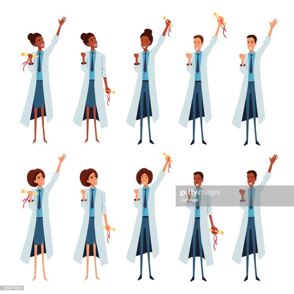 People in medical lab coats celebrate success, rewarding, ending the internship, university.