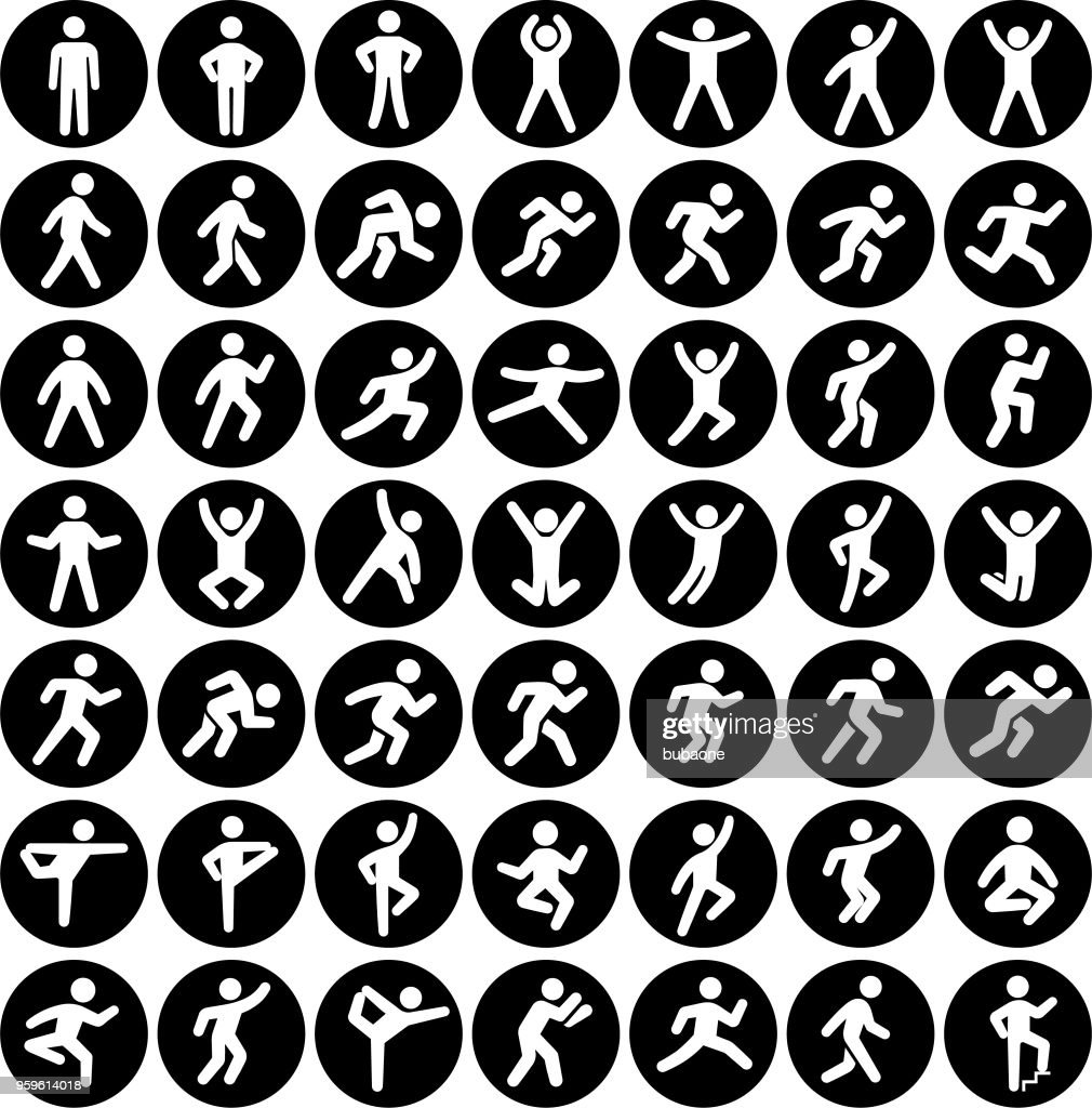 People in motion Active Lifestyle Vector Icon Set Black Buttons : stock illustration