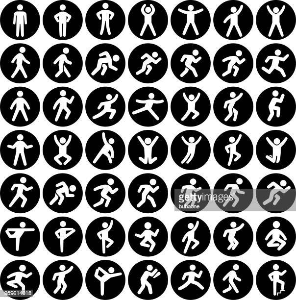 people in motion active lifestyle vector icon set black buttons - jumping stock illustrations