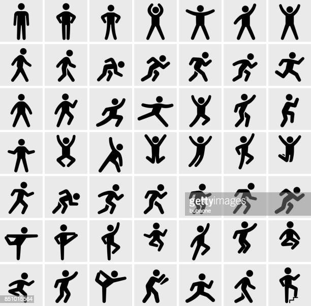 people in motion active lifestyle vector icon set - men stock illustrations