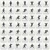 People in motion Active Lifestyle Vector Icon White Button Set