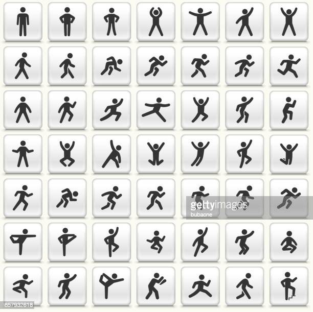 people in motion active lifestyle vector icon white button set - stretching stock illustrations, clip art, cartoons, & icons