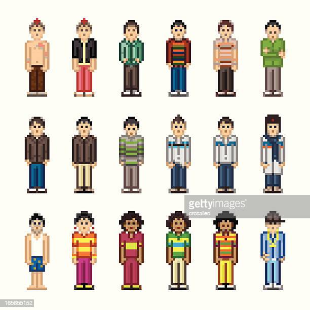 people in pixel art style - boy - pixellated stock illustrations, clip art, cartoons, & icons