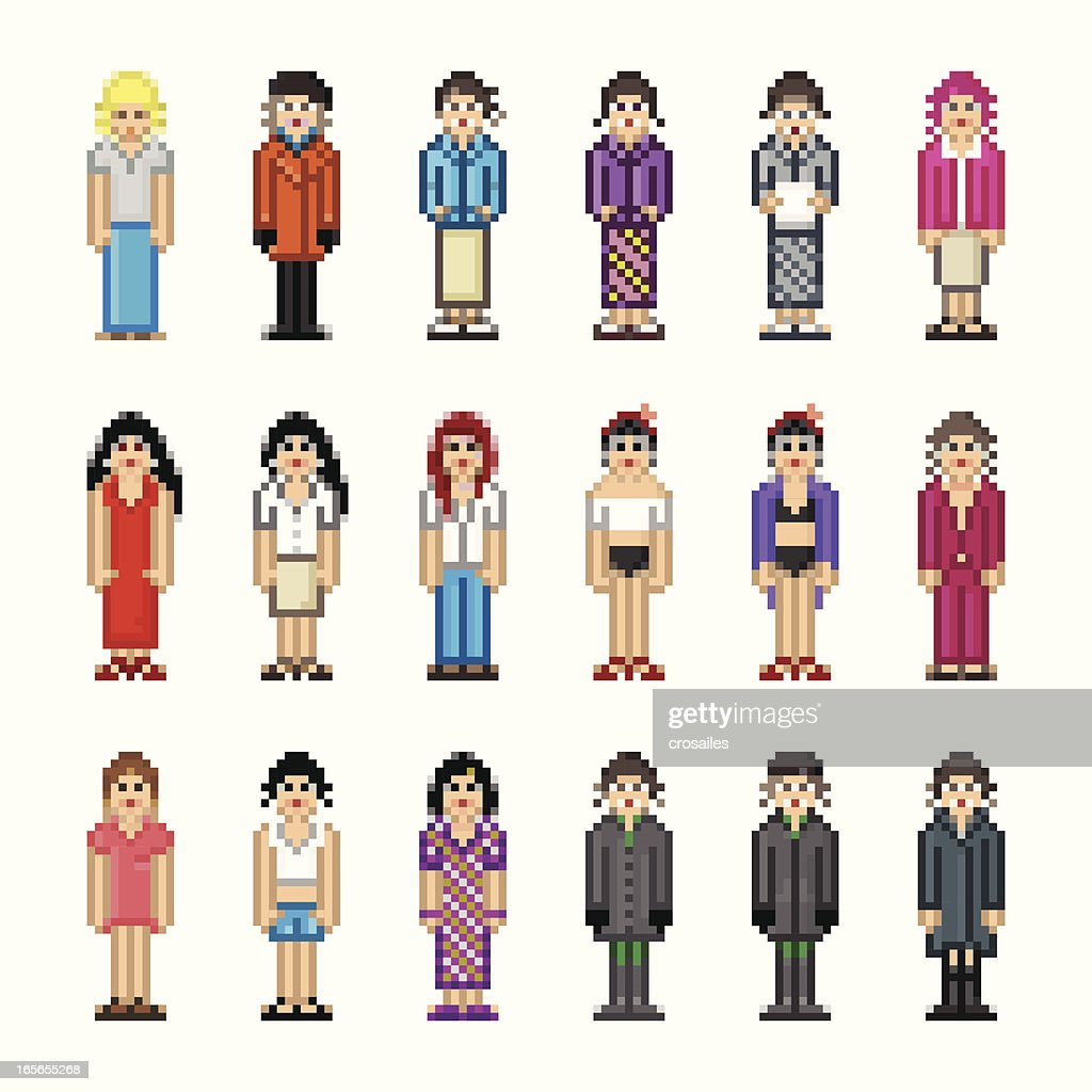 People in Pixel Art Style - Woman : Vector Art