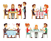 People in restaurant eating dinner vector flat concepts