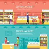 People in supermarket. Vector flat illustration. Grocery store