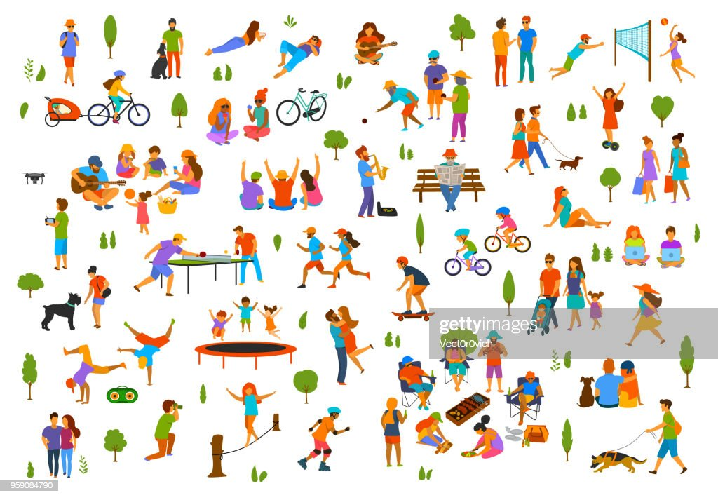 people in the city park nature outdoor collection. man woman children adults family couple friends walk with dogs, talk relax read books break dance, play volleyball,bocce, table tennis