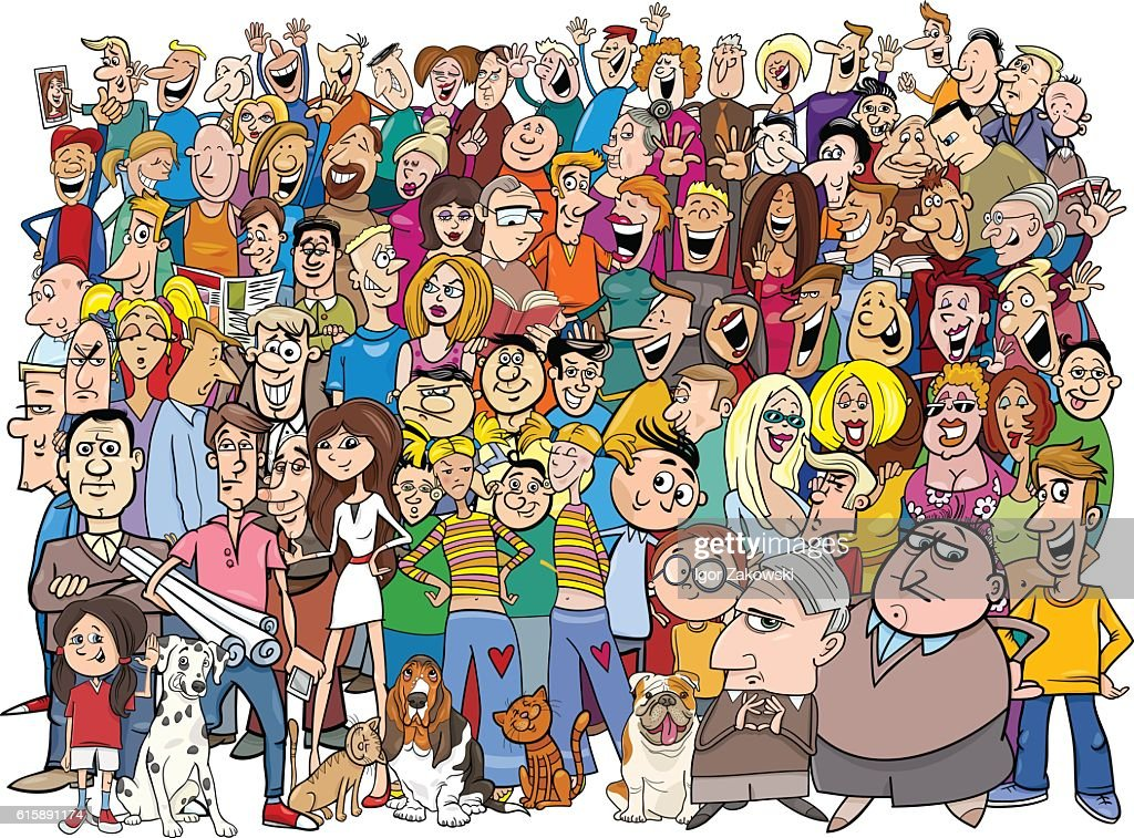 people in the crowd cartoon
