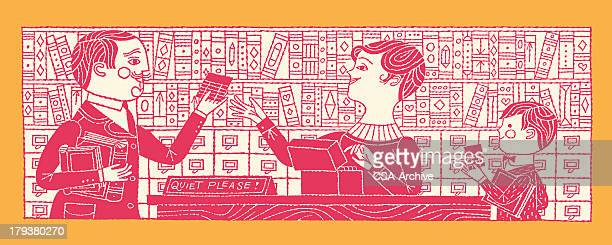 people in the library - library stock illustrations, clip art, cartoons, & icons