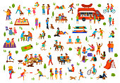 people in the park collection. man woman couples family children friends group seniors walking relaxing sit on benches work on laptops, read books, exercise, on picnic, party, dance, play ball, lying sunbathing ride bike,