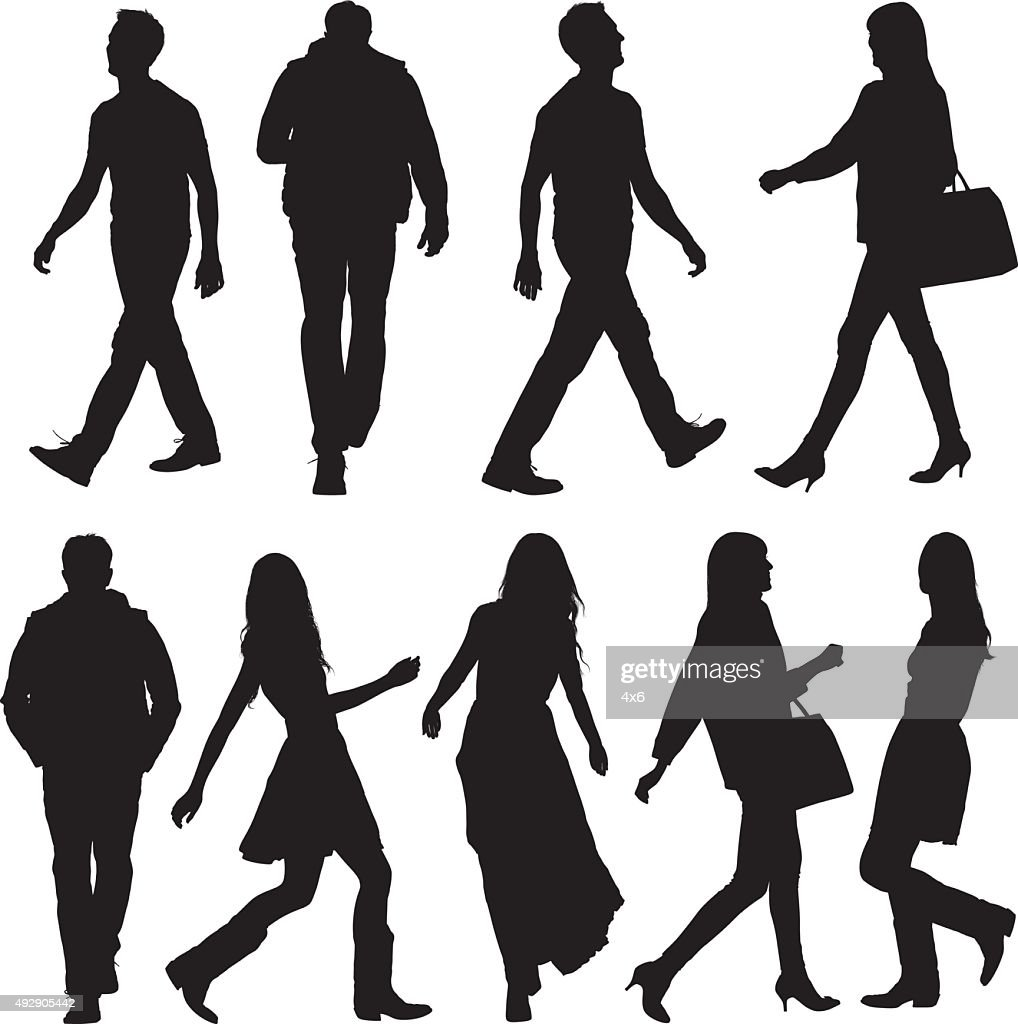 People in various actions and walking