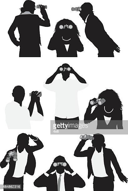 People in various actions with binoculars