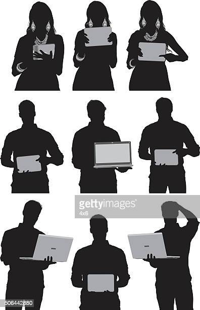 People in various actions with laptop and tablet