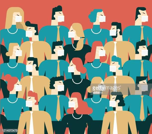 illustrazioni stock, clip art, cartoni animati e icone di tendenza di persone in maschera facciale medica bianca - folla