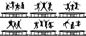 People jumping trampoline silhouette set