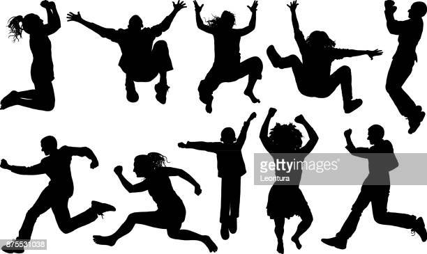 people jumping - jumping stock illustrations
