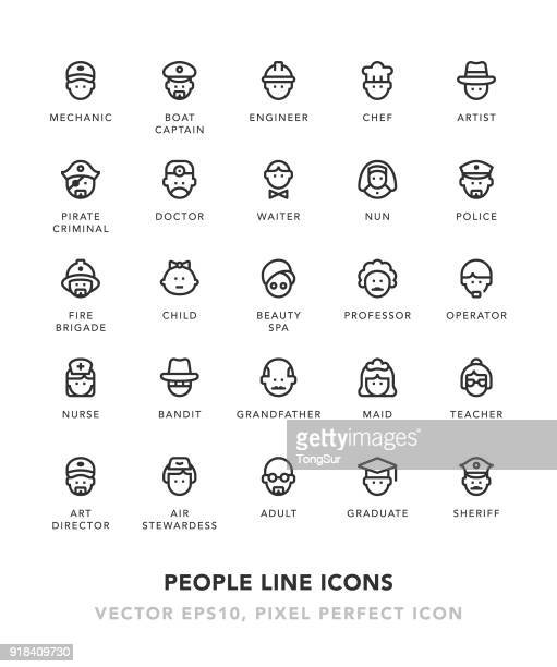 people line icons - hat stock illustrations