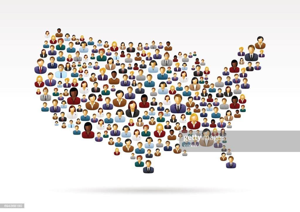 USA people map  on grey background : stock illustration