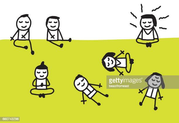 people meditating, praying, laying down at the park - yoga instructor stock illustrations, clip art, cartoons, & icons