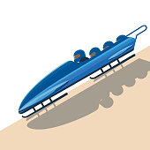 People moving down on bobsled on high speed vector illustration.