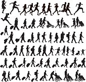 People Moving - walking, running, traveling, crawling, jogging, exercising, talking