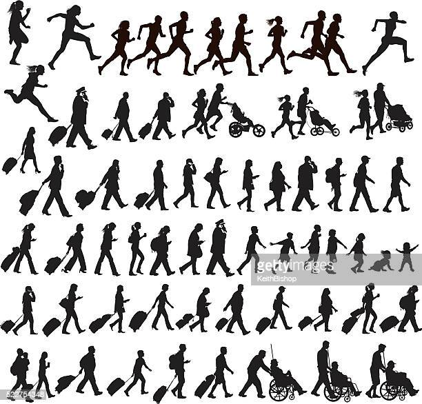 people moving - walking, running, traveling, crawling, jogging, exercising, talking - business travel stock illustrations, clip art, cartoons, & icons