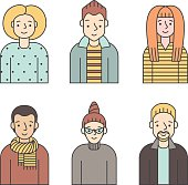 People multicolored icons vector set (men and women). Part five.