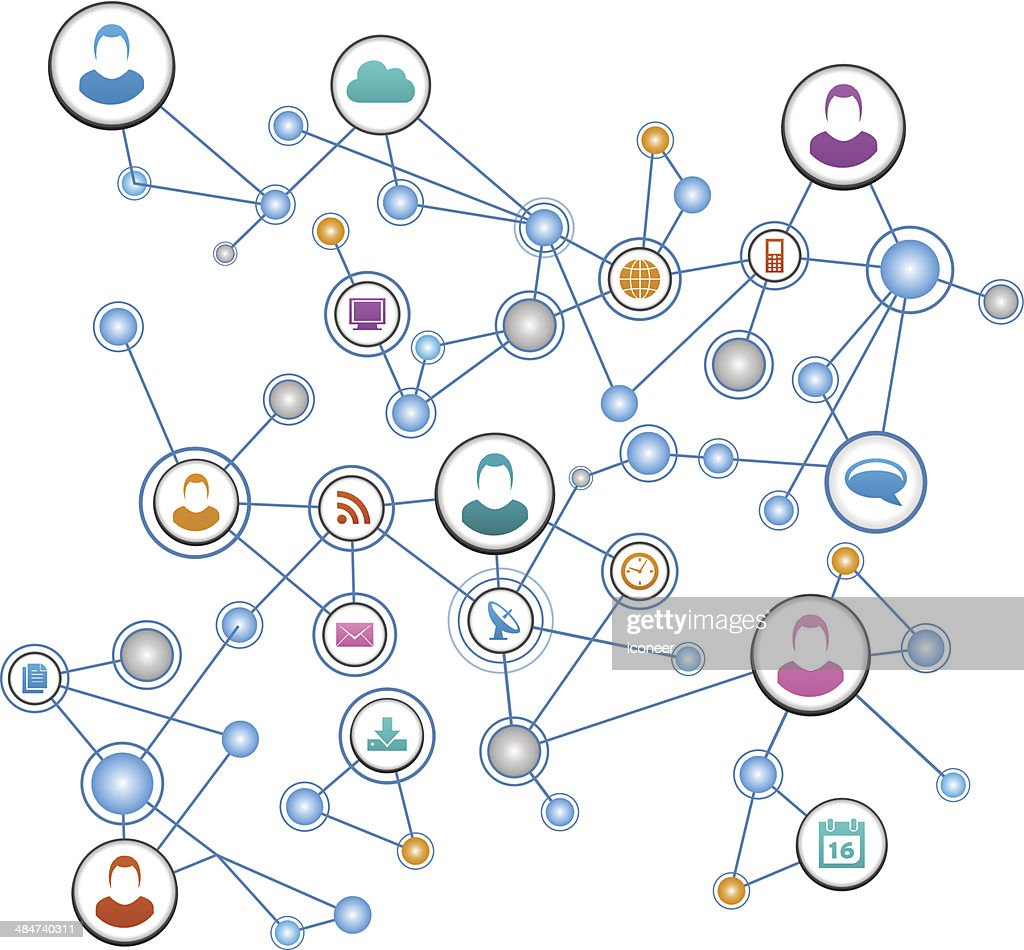 People network background with communication icons