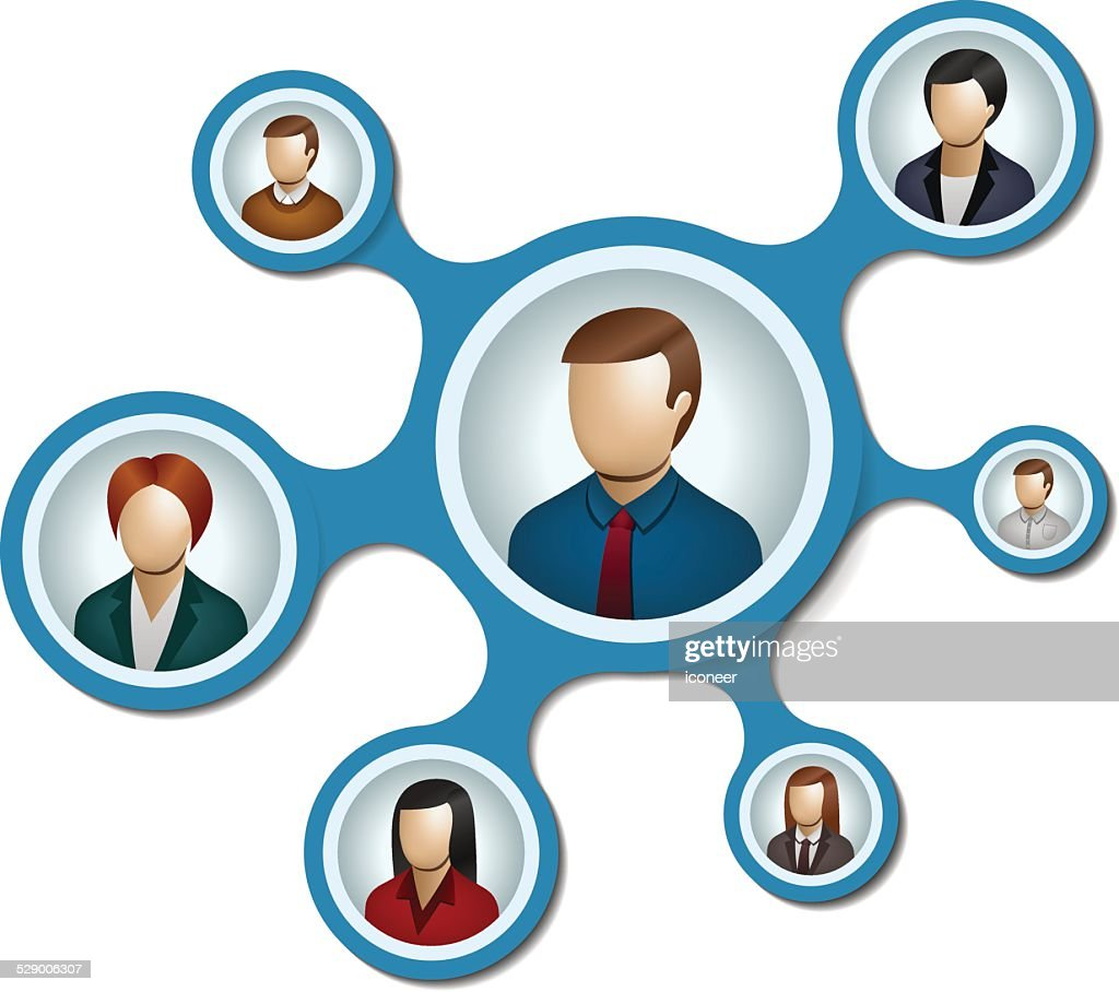 People network with metaballs on white background