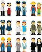 People occupation characters man and woman set in flat style