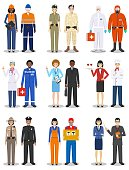 People occupation characters set in flat style isolated on white background. Different men and women professions characters standing together. Templates for infographic, sites, banners, social networks. Vector illustration.