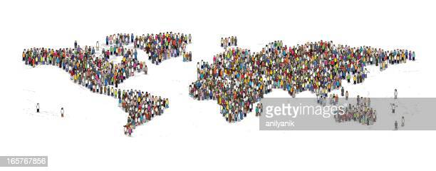 people of the earth - population explosion stock illustrations