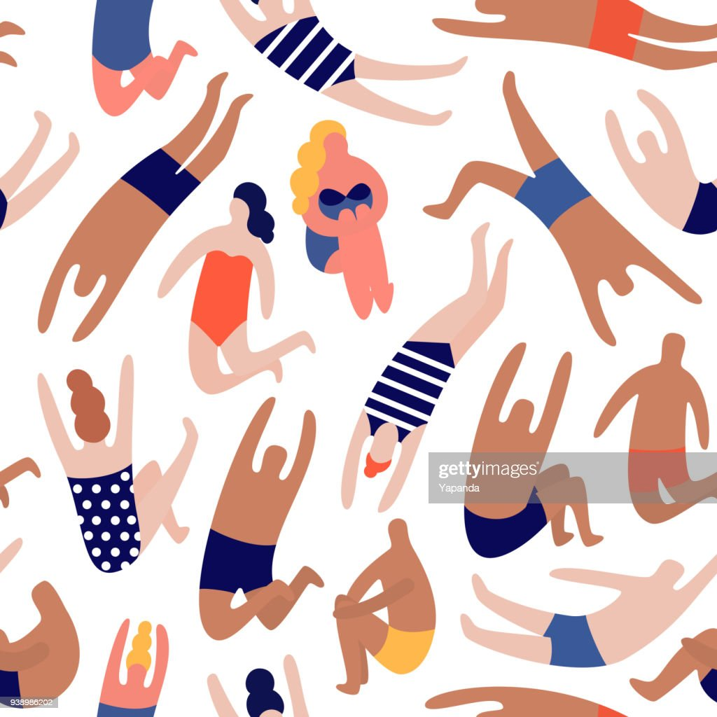 People on a beach. Seamless vector pattern