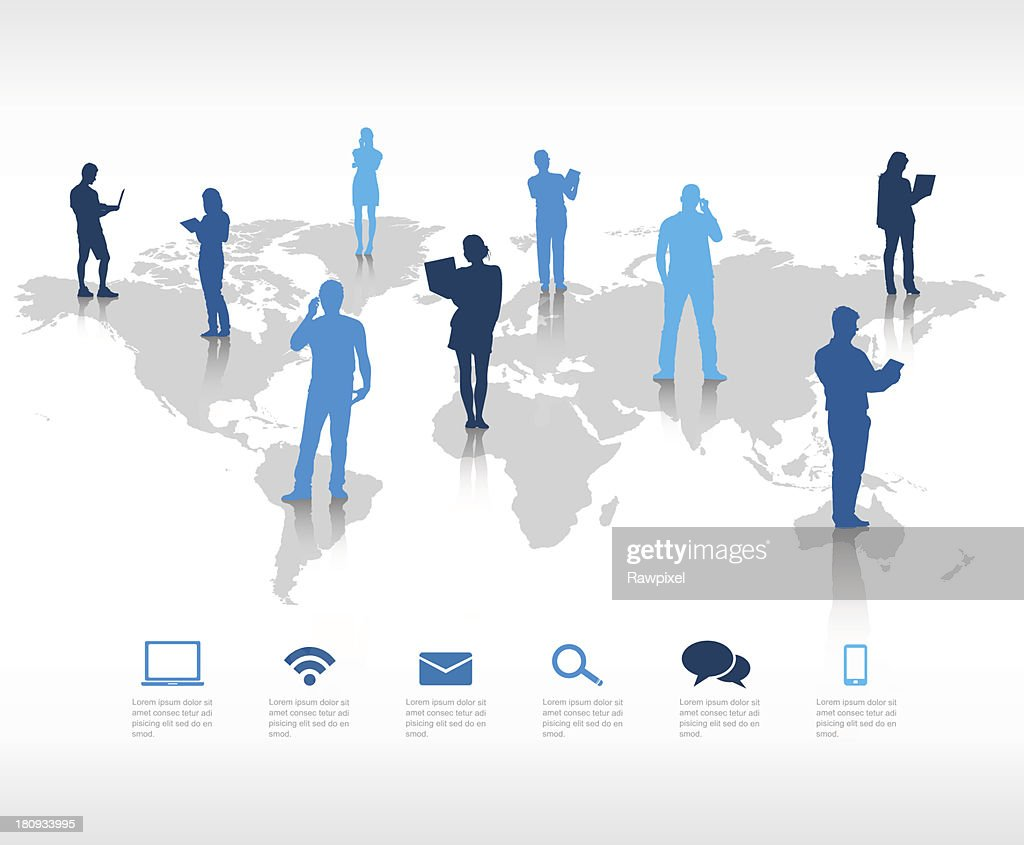 People on a world map showing global communication