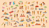 people on the beach fun graphic collection. man woman, couples kids, yound and old enjoy summer vacation,relax,chill have fun